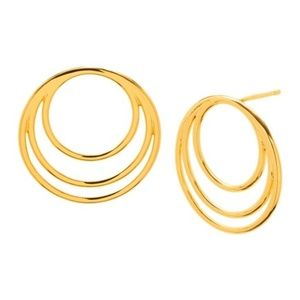 18K Gold Plated Layered Ring Earrings